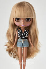 "12""Neo Blythe Doll from Factory Blonde Long Hair With Bangs (Dark Skin)"
