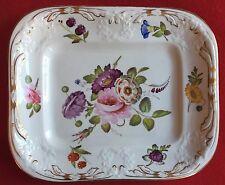 Antique English Coalport Porcelain Plate Platter Botanical Flowers 19th century