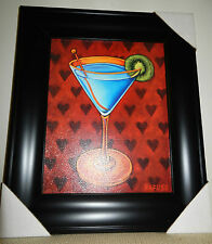 """Will Rafuse """"Martini Royale - Hearts"""" Framed Art Print 19.25"""" x 16.25"""" - New"""