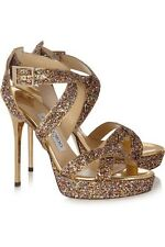 Jimmy Choo 'Vamp' Oro Brillo Sandalias Tacones Zapatos con Tiras Stiletto UK4.5 Eu37.5