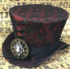 SDL Maroon/Lace Top Hat With Clock Face And Jewelled Cameo In Size  57cm