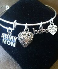 Expandable Silver Colored Handmade Bangle Charm Bracelet ARMY MOM/ MILITARY