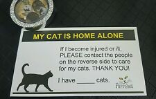 My Cat Is Home Alone Emergency Alert, Emergency ID Identification Wallet Card