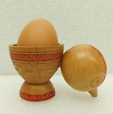 Vintage carved wooden egg cup shaped like chick wood folk art bird hen chicken