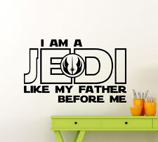 I Am A Jedi Wall Decal Star Wars Skywalker Quote Vinyl Sticker Decor Mural 25sw