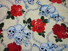 CLEARANCE YARD SKULL ROSE CHAINS FABRIC CREAM