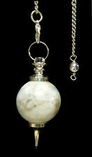 PENDULUM - MOONSTONE Sphere Crystal w/Description, Pouch, & Instructions