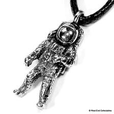 Space Man Astronaut Pewter Charm Pendant Necklace - UK Handmade - Astronomy