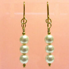 9ct Gold Drop Earrings made with Perfect Round White Swarovski Crystal Pearls
