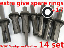 """9/16"""" Plug Wedge and Feathers Shims Quarry Rock Stone Splitter Hand Tools 14 Set"""