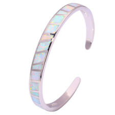 "White Fire Opal Silver Noble Women Jewelry Gemstone Bangle Bracelet 6 3/4"" OS572"