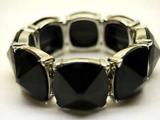 BLACK PYRAMID STUDS LUCITE GEM STRETCH BRACELET