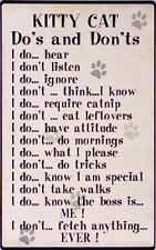 Kitty Do's and Don'ts TIN SIGN funny pet rules metal poster cat lover gift decor