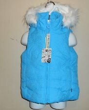 The Childrens Place Toddler Girls Hooded Faux Fur Trim Puffer Vest Blue 4T NWT