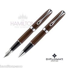 DIPLOMAT EXCELLENCE PEN GIFT SET - Marakesh Chrome fountain pen & rollerball