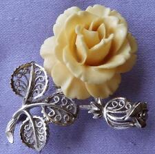 VINTAGE intagliati dell'osso English Rose Fiore & BUD Spilla