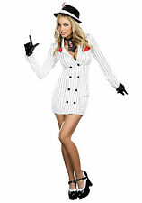 NEW WOMENS MAFIA MOB BOSS GANGSTER MOLL CRIMINAL HEN FANCY DRESS PARTY OUTFIT