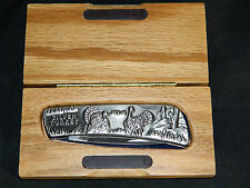 SILVER TURKEY FOLDING KNIFE MADE IN TAIWAN COMES WITH WOODEN STORAGE BOX