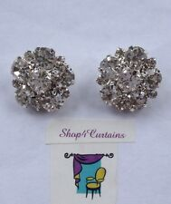 2 Diamante Buttons - Silver Button -  20mm Size - Use on Cushions - Crafts