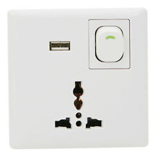 AC Power Supply Socket Dock Station 3 Pin Plug+USB Wall Charger+On/Off Switch