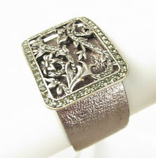 LUCKY BRAND 'Into The Wild' Pave Silver-Tone Wide Leather Cuff Bracelet
