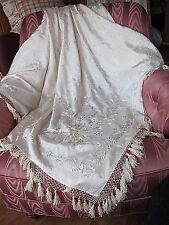 STUNNING 1860's Chinese Floral Embroidery Silk WEDDING SHAWL Ivory~Piano Shawl
