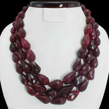 TOP MOST 1167.50 CTS NATURAL 3 LINE RED RUBY PEAR CUT BEADS NECKLACE - GEM EDH