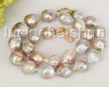 "natural Baroque 18"" 18mm pink purple Reborn keshi pearls necklace j11216"