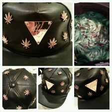Hater Snapback Gold Cannabis Buckle Back Black Leather Supreme Limited Edition