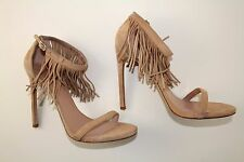 Stuart Weitzman Lovefringe Sandals in buff suede sz 11