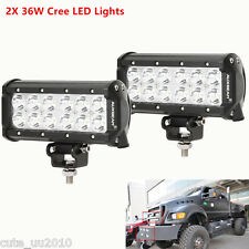 2X 36W Cree LED Work Light Bar Flood Beam Offroad Driving Truck Boat 4WD UTE SUV