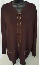 Cable & Gauge Woman's Plus Brown w/ Gold Gems Zipper Front Sweater Size 1X