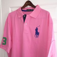 POLO RALPH LAUREN MENS SHORT SLEEVE BIG PONY POLO SHIRT PINK NWT 2XLB  BIG 2X
