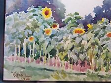 Original Small Vintage 1920 WATERCOLOR Landscape PAINTING SUNFLOWERS Signed