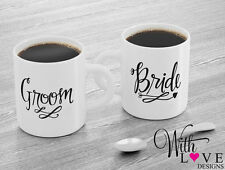 SET OF 2 MUGS PERSONALISE BRIDE GROOM COFFEE MUG TEA CUP WEDDING ENGAGEMENT GIFT