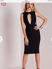 Missguided Black Cut Out Bust Bodycon Midi Dress. Size 8.