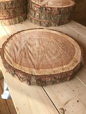 "Set of Four 10"" Wood Log slices Table Centre Pieces, Cake Stand, wedding decor"