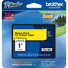 Brother TZe651 24mm black on yellow Ptouch tape PT7500 PT7600 PT9700PC PT9800PCN