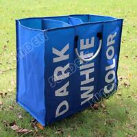 BLUE FOLDING LAUNDRY BAGS BASKETS WASHING CLOTHES TOY STORAGE HAMPER BIN BAGS