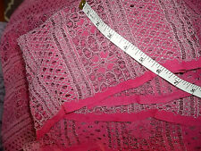 Vintage Corded Stretch Lace Fabric Pink Chantilly Alencon Sewing Lingerie Dress