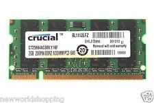 Crucial 2GB PC2-6400 DDR2 800Mhz 200pin SODIMM Laptop Memory RAM Low Density CL6