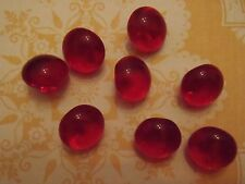 8 Vintage Frosted Red Glass Buttons sew craft scrapbook jewelry quilt knit doll