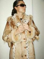 NATURAL FUR SPANISH BABY LAMB LYNX SHEARLING COAT JACKET ITALY burberry hanger