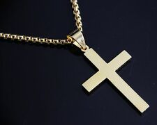 "24"" Mens Womens Stainless Steel Gold Plain Cross Pendant with Box Chain Necklace"