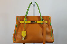 LEDERER DE PARIS ORANGE YELLOW GREEN PEBBLE GRAIN LEATHER PURSE HANDBAG J77