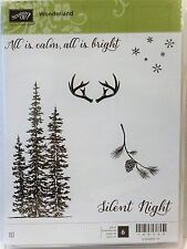Stampin Up WONDERLAND clear mount stamps NEW Christmas Pine Tree Silent Night