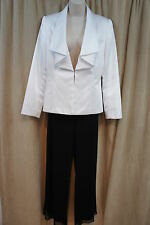 Tahari ASL Pant Suit Sz 6 White Black Cocktail Evening Party Pant Suit