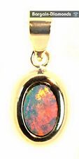 black opal 14K pendant red orange yellow green hangende Australian opala opale