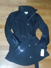 $ 220 NEW ! NWT MICHAEL KORS Quilted Hooded Coat in Black Size S