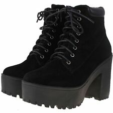New Womens Size UK 7 Black Faux Suede High Platform Heel Lace Up Ankle Boots